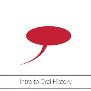 Speech bubble floating above workshop title: Introduction to Oral History