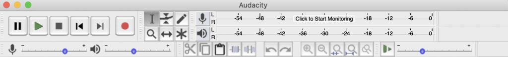 Audacity toolbar